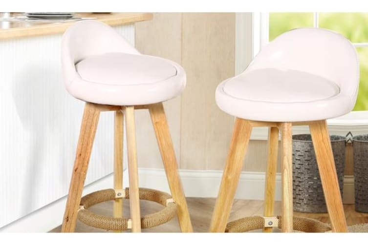 2 x Wooden Bar Stools Cream Leather