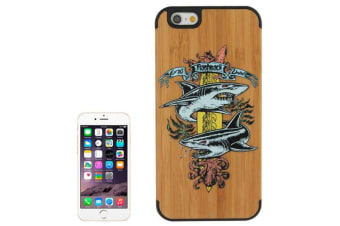 For iPhone 6S 6 Case Two Sharks Bamboo Durable Modern Wooden Shielding Cover