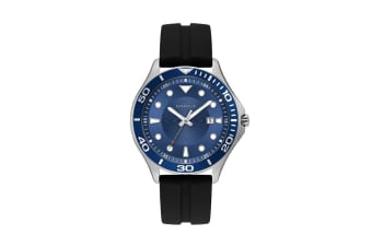 Caravelle Men's 42mm Analog Quartz Watch with Date & Silicone Strap - Black/Blue (43B155)