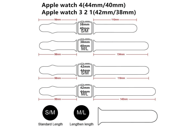 Apple Watch iWatch Series 1 2 3 4 5 Silicone Replacement Strap Band 38mm/40mm S/M size-Light Pink