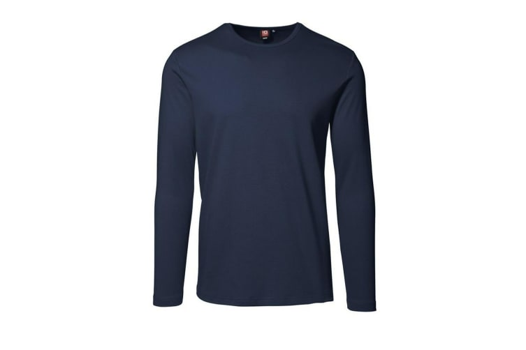 ID Mens Long Sleeve Slimline Fitted Interlock T-Shirt (Navy) (XL)