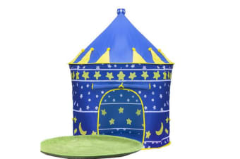 Kids Castle Play Tent with LED Star String Light BLUE