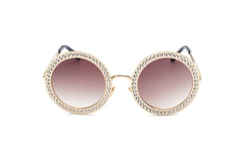 Round Rhinestone Sunglasses Women Metal Frame With Crystal Shades Summer Sun Glasses