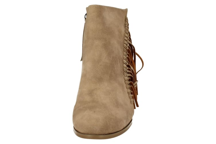 Spot On Womens/Ladies Fringed High Heel Ankle Boots (Beige) (6 UK)
