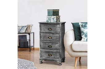 Artiss Bedside Tables 4 Chest of Drawers Storage Cabinet Vintage Grey Nightstand