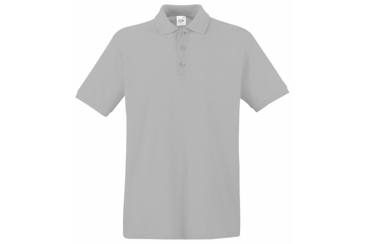 Fruit Of The Loom Premium Mens Short Sleeve Polo Shirt (Ash Grey) (S)