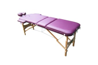 Genki Portable & Adjustable Massage Beauty Table, with Free Carry Bag - Purple