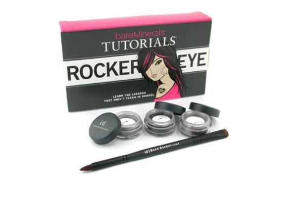 Bare Escentuals BareMinerals Rocker Eye Tutorials: 2x Eye Color 0.28g + Liner Shadow 0.28g + Double-Ended Rock ' N ' Roll Brush (4pcs)