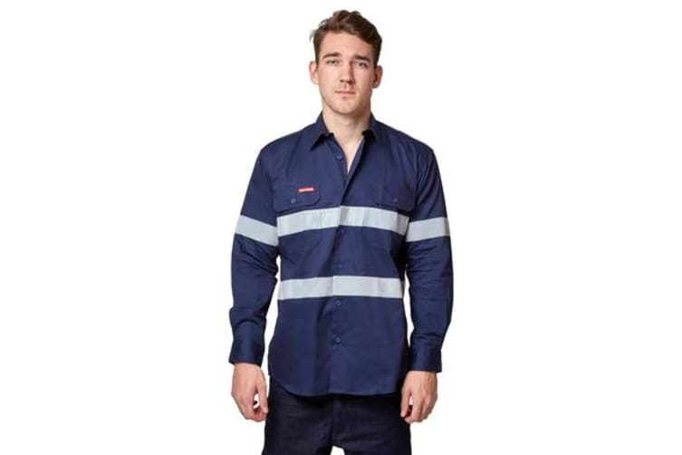 Hard Yakka Koolgear Hi-Visibility Ventilated Long Sleeve Top (Navy , Size 4XL)