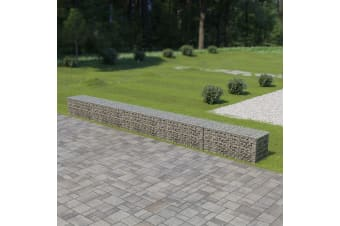 vidaXL Gabion Wall with Covers Galvanised Steel 600x50x50 cm