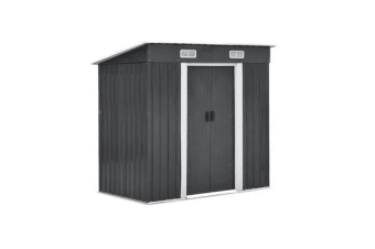 1.94 x 1.21M Metal Base Garded Shed (Grey)
