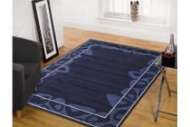 Modern Blue Navy Border Pattern Rug