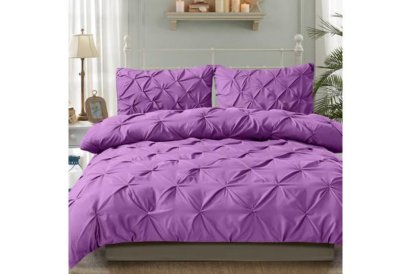 Diamond Pintuck Duvet/Doona/Quilt Cover US Size in PLUM - King