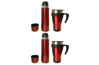 4pc Stainless Steel Vacuum Flask 450ml Mug/500ml Bottle w/ Double Wall Cup Set