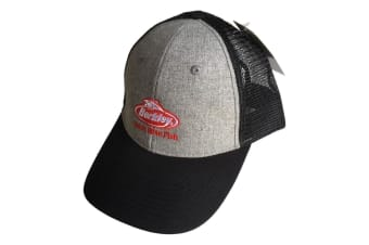 Grey Berkley Mesh Trucker Fishing Cap with Adjustable Snapback Closure