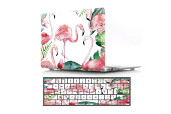 "Marble Frosted Matte Hard Case with Free Keyboard Cover for MacBook Pro 13"" 2016-2018 A1706 A1989 (With Touch Bar)-Flamingos"