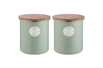 2PK Typhoon 1L Sage Metal Tin Sugar Can Container Storage Jar w  Bamboo Wood Lid