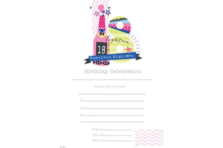 SE Girls 18th Birthday Party Invites Hanging Pads (White) (13.3 x 19cm)