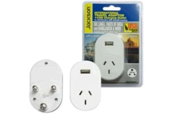 JACKSON Outbound Travel Adaptor 1x USB Charging Port. Converts NZ/Aust Plugs for use in Sri Lanka