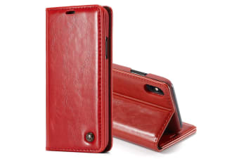 For iPhone XS Max Case Red Business Wild Horse Texture PU Leather Folio Case