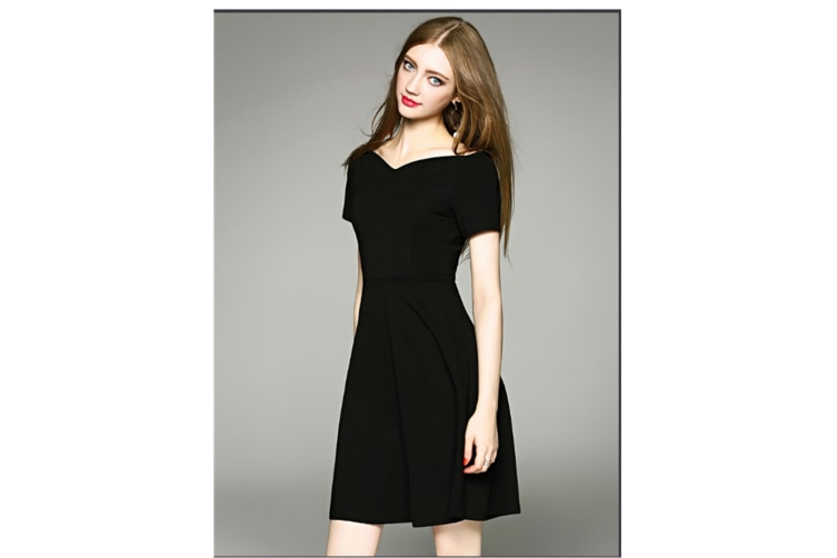 Women Short Sleeve Little Black Dress Black Xl