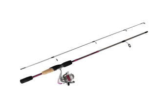 Pink 5'6 Okuma Steeler XP 2 Piece Fishing Rod and Reel Combo Spooled with Line