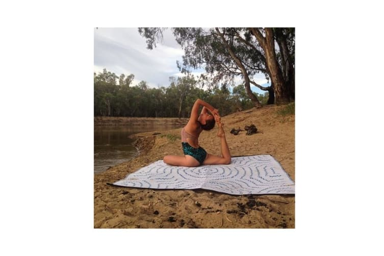 Water Dreaming Aboriginal Design Recycled Mat Blue And White