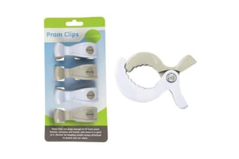 4PC Playette Baby Clips/Pegs Mount Frame for Cot/Toys/Stroller/Pram/Canopy WHT