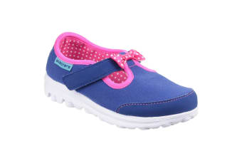 Skechers Childrens Girls Go Walk Bitty Bow Touch Fasten Shoe (Blue/Pink) (4 UK Child)
