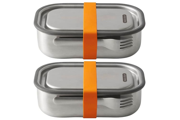 2PK Black + Blum 1L Vacuum Insulated Stainless Steel Lunch Box Container Orange