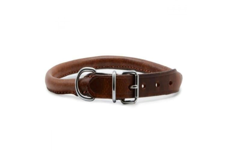 Ancol Round Leather Dog Collar (Chestnut) (20in)