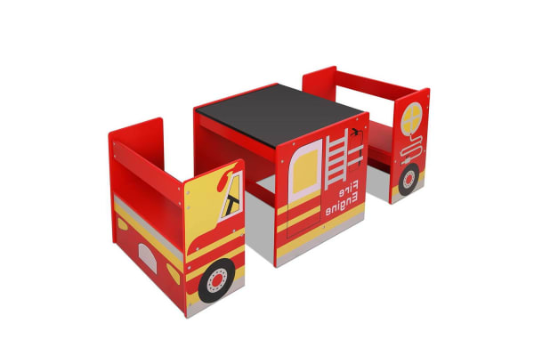 Kids Wooden Fire Truck Table Chairs Set