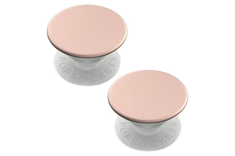 2xPopSockets Swappable PopGrip Universal Grip Holder w/Base Rose Gold Aluminium