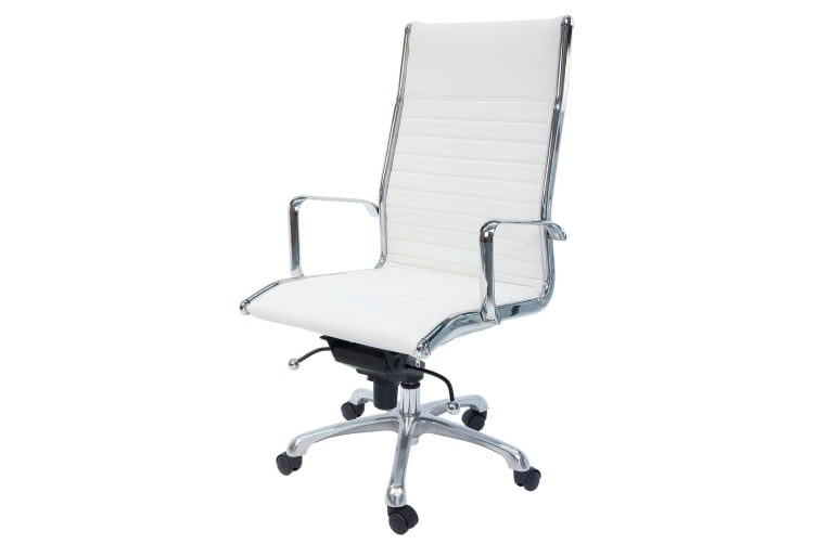 Eames Inspired High Back Ribbed Leather Executive Desk Office Chair White