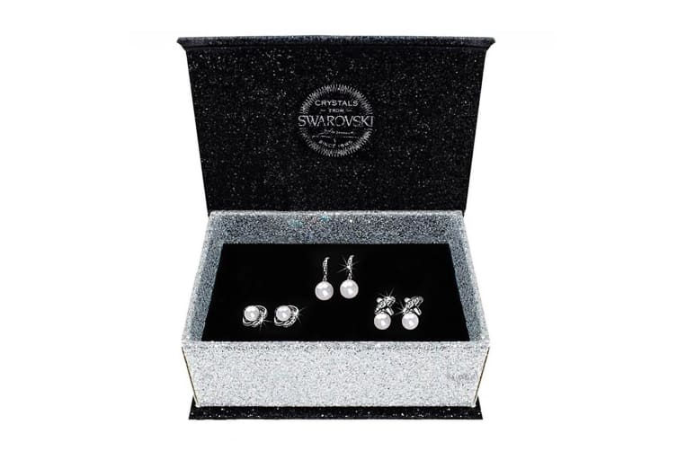 Boxed 3 Pairs Earrings Set Embellished with Swarovski crystals