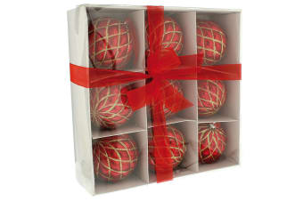 Christmas Shop Decorated Christmas Baubles (Set Of 9) (Shiny Red)