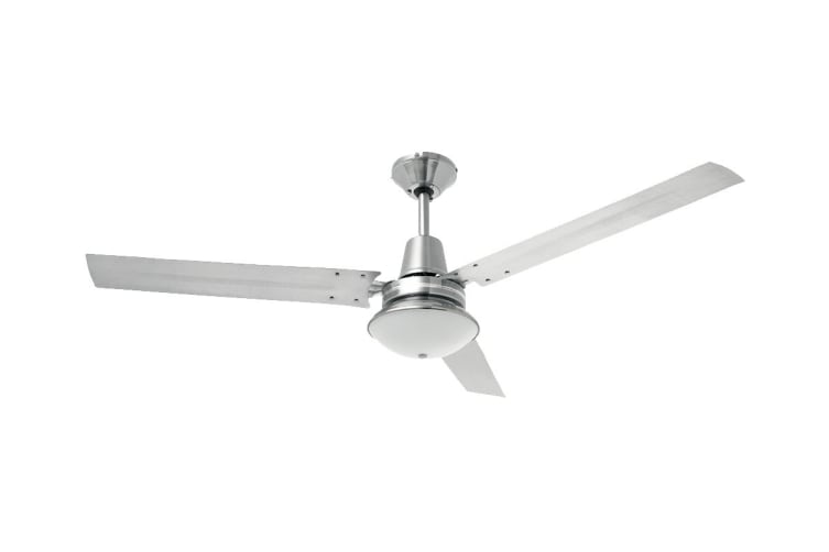 Heller 1200mm 3 Blade Ceiling Fan with Oyster Light - Brushed Stainless Steel (TRINITY)