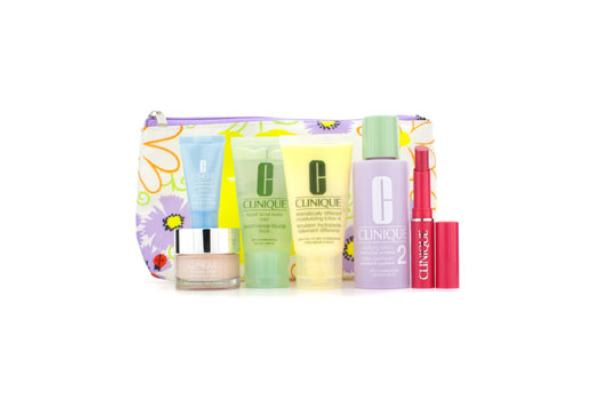 Clinique Travel Set: Facial Soap + Clarifying Lotion #2 + DDML Plus + Moisture Surge + Turnaround Concentrate + Lipstick #Flirty Honey + Bag (6pcs+1bag)