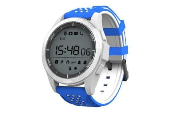 """Bluetooth V4.0 Smart Watch 1.1"""" Lcd Heart Rate Blood Oxygen Ip68 Blue White"""