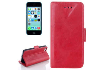 For iPhone 5C Wallet Case  Oil Leather Durable Shielding Cover Red