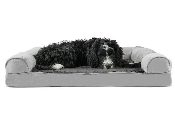 Orthopedic Foam Base Pet Bed Bolster Couch Large GREY