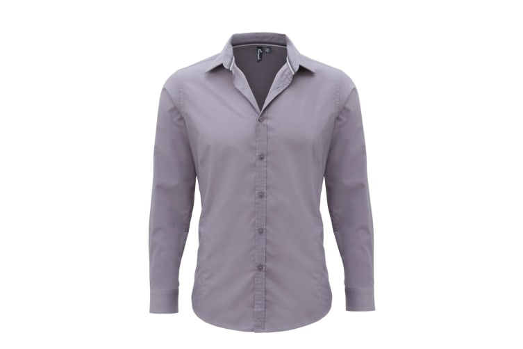 Premier Mens Long Sleeve Fitted Friday Shirt (Steel) (2XL)