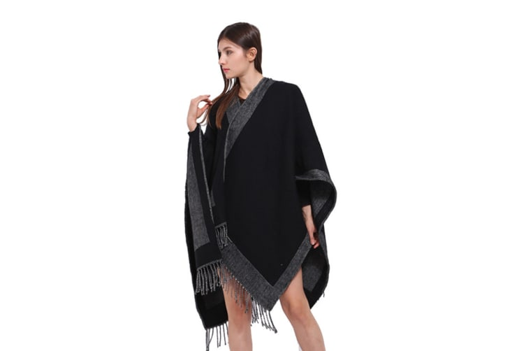 Women'S Thickened Double-Sided Double-Color Dual-Purpose Shawl - 1 Black 175Cm