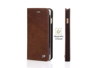 For iPhone 8 PLUS 7 PLUS Wallet Case FS Genuine Cow Leather Cover Coffee