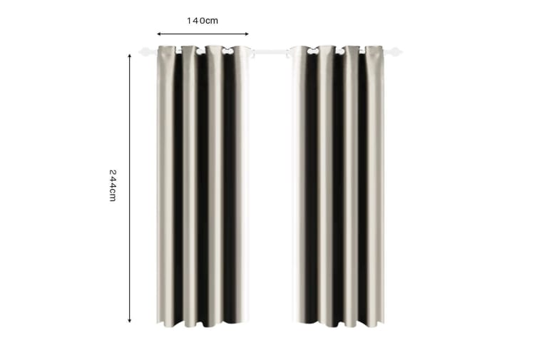 Deluxe Blockout Curtain 3 Layers Eyelet Pure Fabric Room Darkening 1xPAIR 140CM