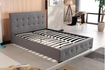 Venus Fabric Linen Tufted Bed Frame Charcoal
