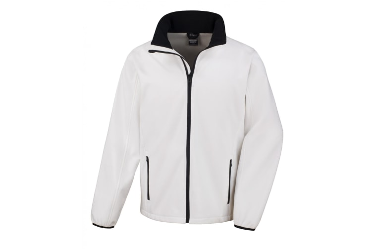 Result Mens Core Printable Softshell Jacket (White/ Black) (4XL)