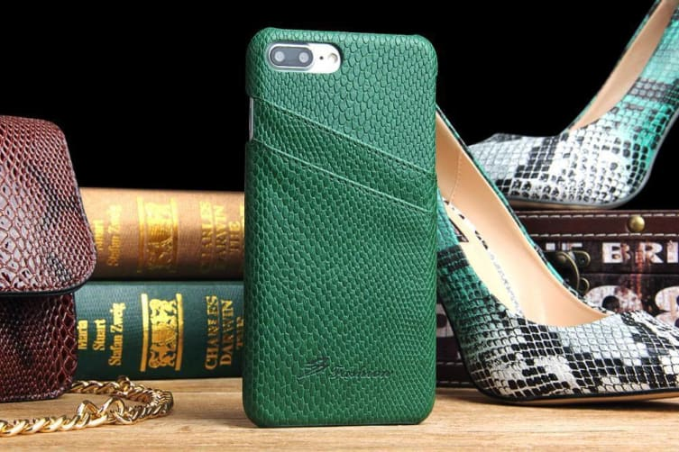 For iPhone 8 PLUS 7 PLUS Case Elegant Deluxe Snake Pattern Leather Cover Green