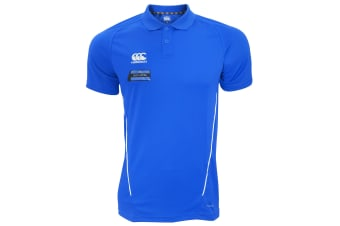 Canterbury Mens Team Dry Moisture Wicking Polo Shirt (Royal/White)