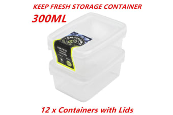 12 x 300ml Rectangle Stack-able Plastic Food Storage Container Box Lid BPA Free BULK